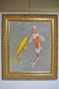 千代田ヴィレッジ錦鯉の油絵