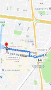 千代田ヴィレッジ鶴舞駅からの経路